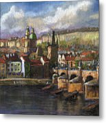 Prague Panorama Charles Bridge Prague Castle Metal Print by Yuriy  Shevchuk