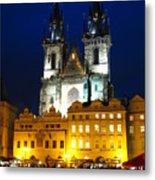 Prague Tower At Night Metal Print