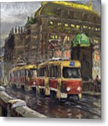 Prague Tram Legii Bridge National Theatre Metal Print