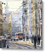 Prague Vodickova Str Metal Print