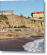 Praia Da Poca Beach In Estoril Portugal Metal Print