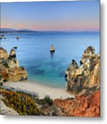 Praia Do Camilo At Sunset  Metal Print