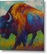 Prairie Muse - Bison Metal Print by Marion Rose