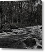 Prairie River Whitewater Black And White Metal Print