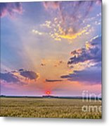 Prairie Sunset With Crepuscular Rays Metal Print