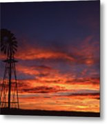 Prairie Sunset With Windmill Metal Print