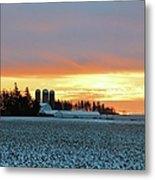 Prairie Winter Sunrise Metal Print