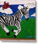 Prancing Zebra And Bird Metal Print