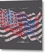 Preamble To The Constitution On Us Map Metal Print