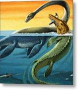 Prehistoric Creatures In The Ocean Metal Print