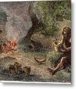 Prehistoric Man: Pottery Metal Print