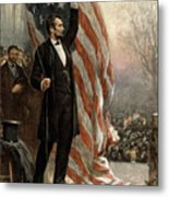 President Abraham Lincoln - American Flag Metal Print