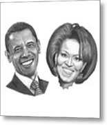 President And First Lady Obama Metal Print