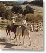President And Nancy Reagan Horseback Metal Print by Everett