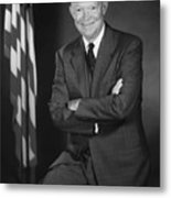 President Eisenhower And The U.s. Flag Metal Print