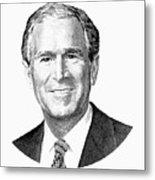 President George W. Bush Graphic - Black And White Metal Print