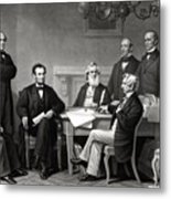 President Lincoln And His Cabinet Metal Print
