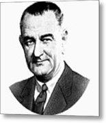 President Lyndon Johnson Graphic - Black And White Metal Print