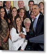 President Obama Honors Us Womens Soccer Team At White House #1 Metal Print