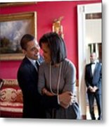 President Obama Hugs First Lady Metal Print