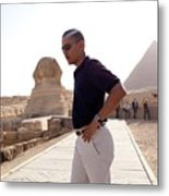 President Obama Tours The Egypts Great Metal Print by Everett