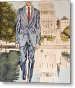 President Obama Walking On Water Metal Print