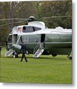 President Obama Walking Toward Marine One Metal Print