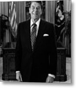 President Ronald Reagan In The Oval Office Metal Print