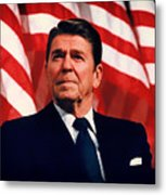 President Ronald Reagan Speaking - 1982 Metal Print