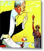 President Woodrow Wilson And The 15th Proposition For The League Of Nations Metal Print