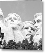Presidents Of Mount Rushmore Framed By South Dakota Forest Trees Panoramic Black And White Metal Print
