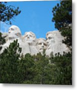 Presidents Of Mount Rushmore Framed By South Dakota Forest Trees Metal Print