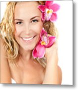 Pretty Girl With Pink Flowers Metal Print by Anna Om