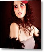 Pretty Glamour Fashion Girl On Red Backlight Metal Print