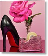 Pretty Pink Bling Office Accessories Metal Print