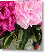 Pretty Pink Peonies In Ball Jar Vase Metal Print