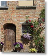 Pretty Terrace Beside The Groenerei Canal In Bruges Belgium Metal Print