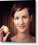 Pretty Young Brunette Woman Holding Hatching Egg Metal Print
