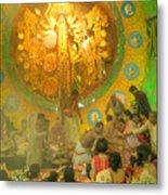 Priest Distributing Flowers For Praying To Goddess Durga Durga Puja Festival Kolkata India Metal Print