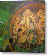 Priest Praying To Goddess Durga Durga Puja Festival Kolkata India Metal Print