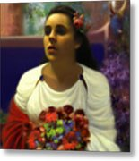 Priestess Of The Floral Temple Metal Print