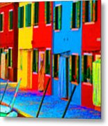 Primary Colors Of Burano Metal Print