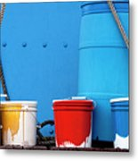 Primary Colors - Paint Buckets On A Ship Metal Print