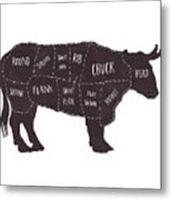 Primitive Butcher Shop Beef Cuts Chart T-shirt Metal Print