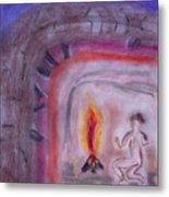 Primitive Man Fireside Metal Print