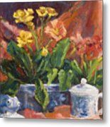 Primroses And Blue China Metal Print