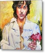 Prince Rogers Nelson Holding A Rose Metal Print
