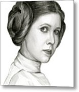 Princess Leia Watercolor Portrait Metal Print