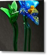 Profile Of Glass Flowers Metal Print