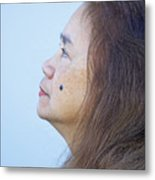 Profile Portrait Of A Lovely Filipina With A Mole On Her Cheek   Metal Print